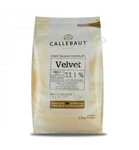 Белый бельгийский шоколад Velvet 33.1% Barry Callebaut 2.5 кг.