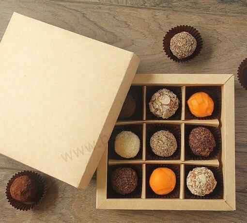 Упаковка (коробка) для 9 конфет с крышкой, 5 шт.
