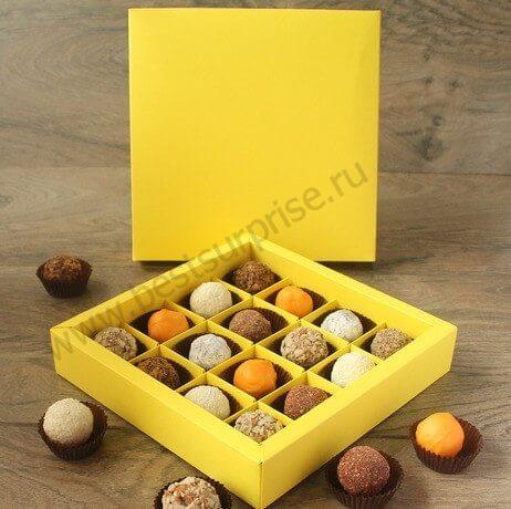 Упаковка (коробка) для 9 конфет «Желтый», 5 шт.