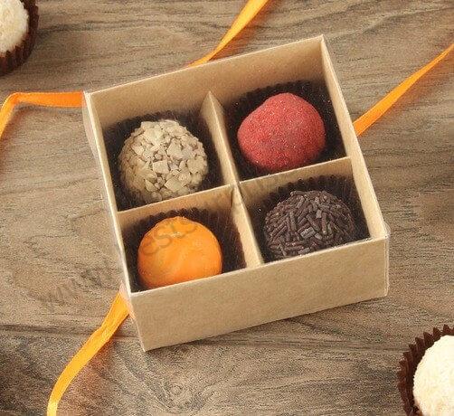 Упаковка (коробка) для 4 конфет с прозрачной крышкой, 5 шт.
