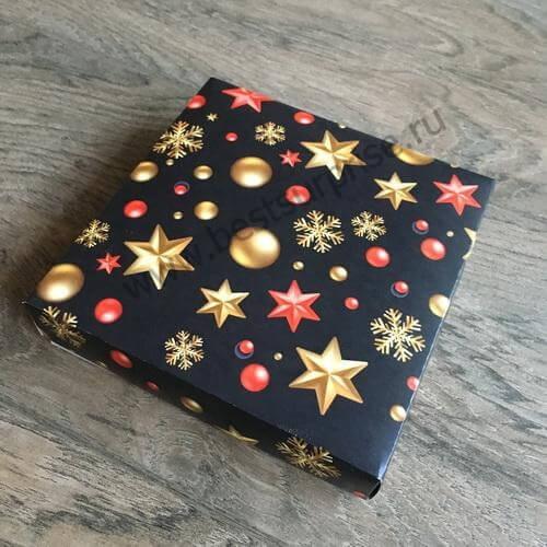 Упаковка (коробка) для 16 конфет с черной крышкой «С Новым годом», 5 шт.