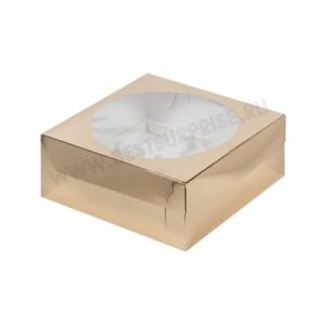 Упаковка для капкейков и маффинов с увеличенным окном золото, (9 ячеек 235*235*100)