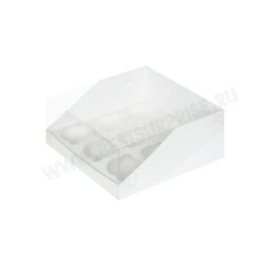 Упаковка для капкейков и маффинов с пластиковой крышкой белая, (9 ячеек)