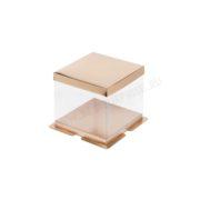 Упаковка (коробка) для торта пластиковая с крышкой 260*260*280 (золото)