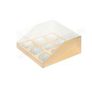 Упаковка для капкейков и маффинов с пластиковой крышкой золото, (9 ячеек)