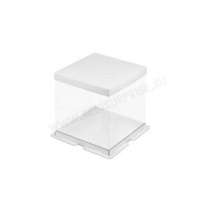 Упаковка (коробка) для торта пластиковая с крышкой 260*260*280 (белая)