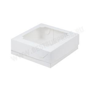 Коробка под зефир и печенье с окошком 200*200*70 мм (белая)
