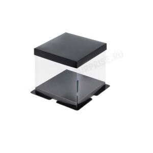 Упаковка (коробка) для торта пластиковая с крышкой 260*260*280 (черная)