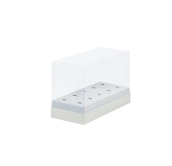 Коробка под кейк-попсы с пластиковой крышкой 240*110*160 мм (белая)