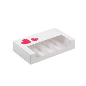 Коробка для эклеров и эскимо с окном и ложементами 250*150*50 мм (белая)