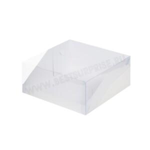 Коробка под торт с прозрачной крышкой 235*235*100 (белая)