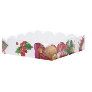 Коробка для печенья и пряников 155*155*35 мм (Рождественская)