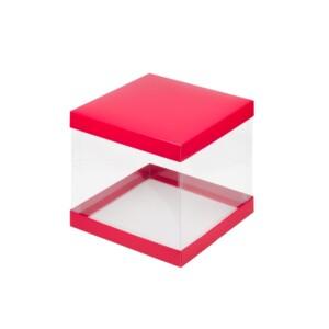 Коробка под торт с прозрачными стенками 260*260*280 (красная матовая)
